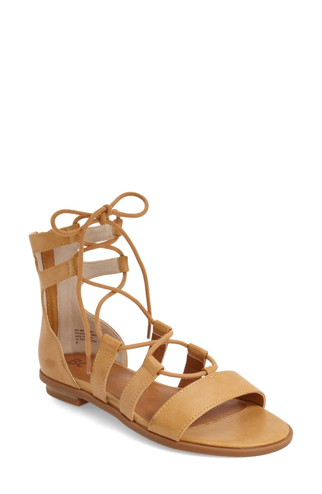 Alternate Image 1 Selected - BC Footwear 'Pocket Size' Lace-Up Flat Sandal (Women)