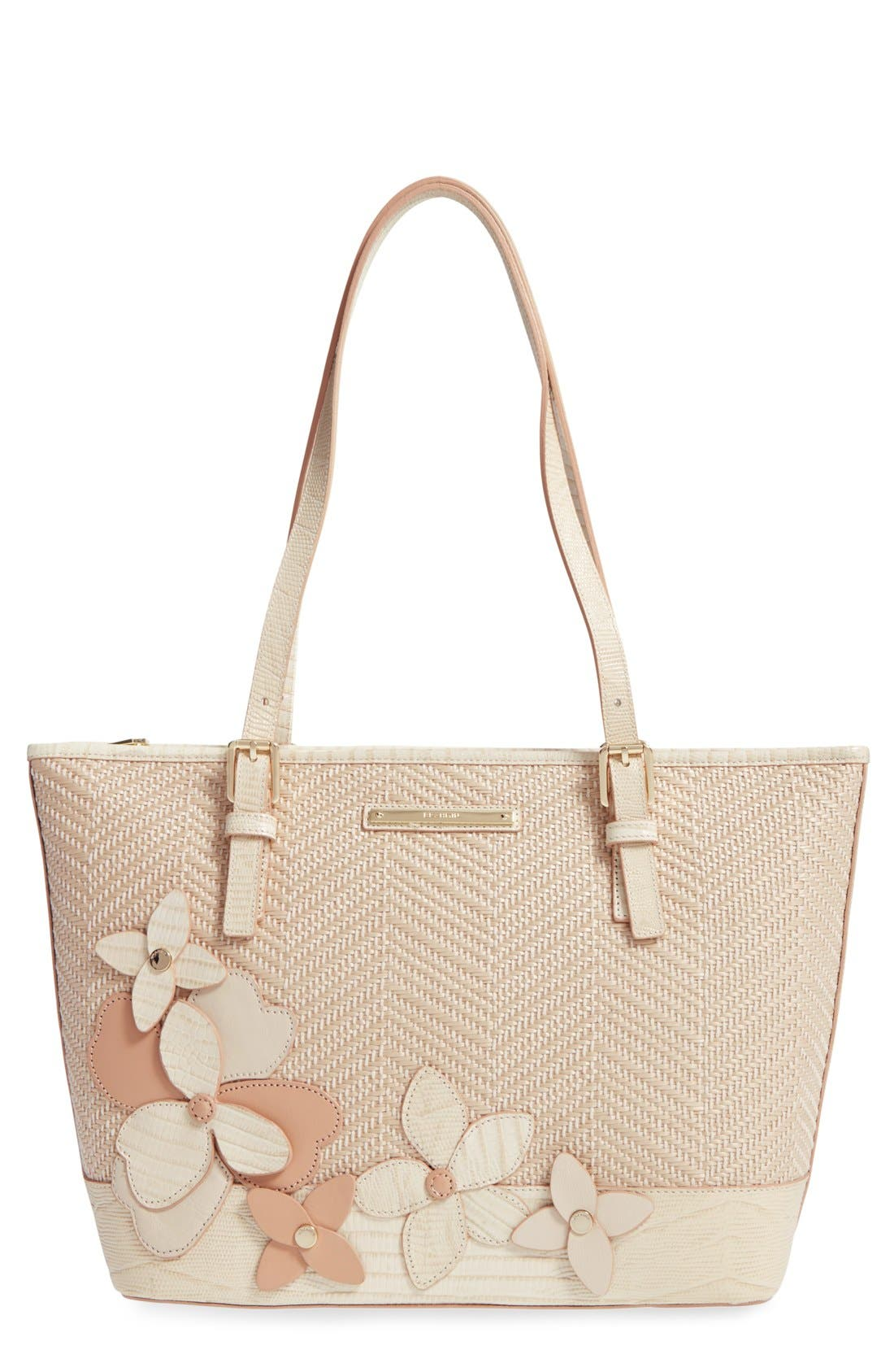 Main Image - Brahmin 'Medium Asher' Floral Embellished Woven Tote