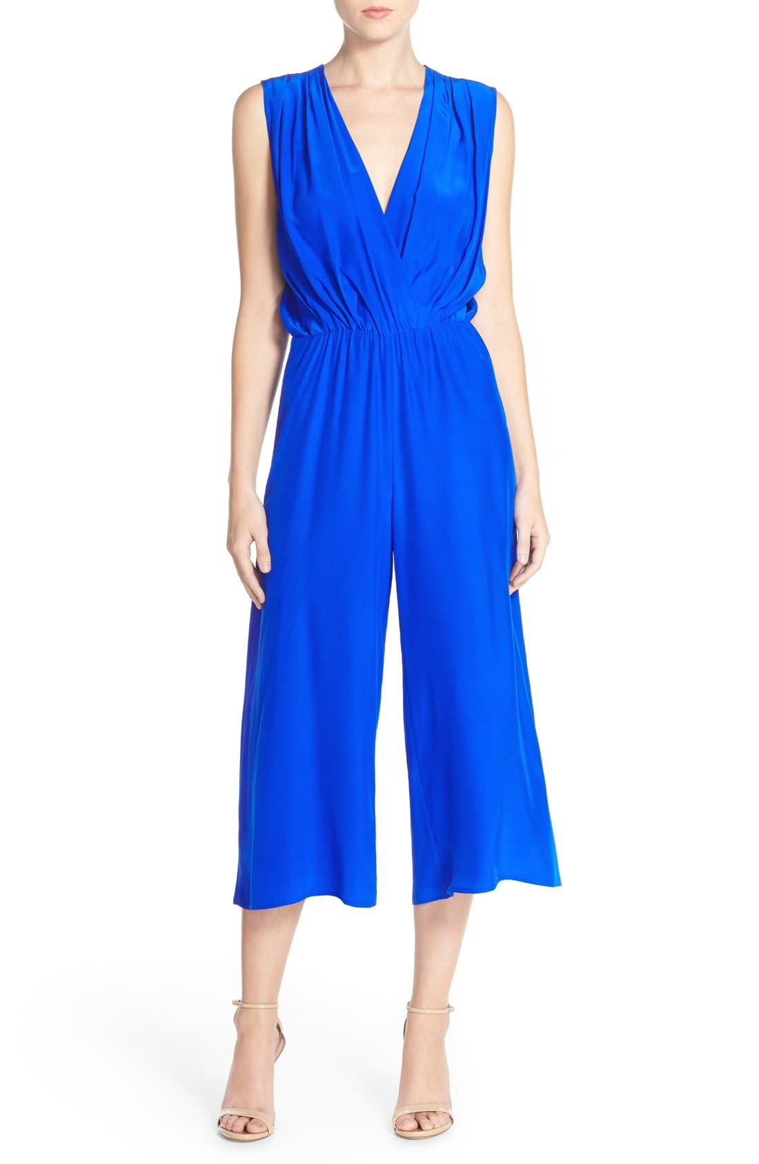 Main Image - Amanda Uprichard 'Jessa' Sleeveless Crop Silk Jumpsuit