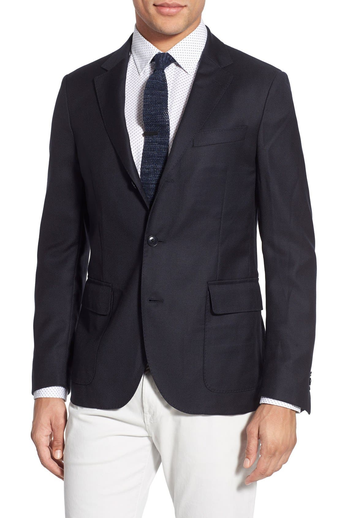 GANT 'Hopsack' Trim Fit Wool Sport Coat