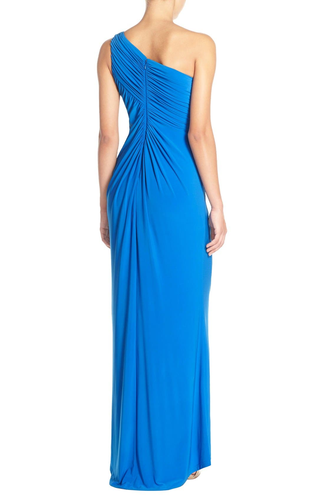 Alternate Image 2  - Adrianna Papell One-Shoulder Draped Jersey Gown