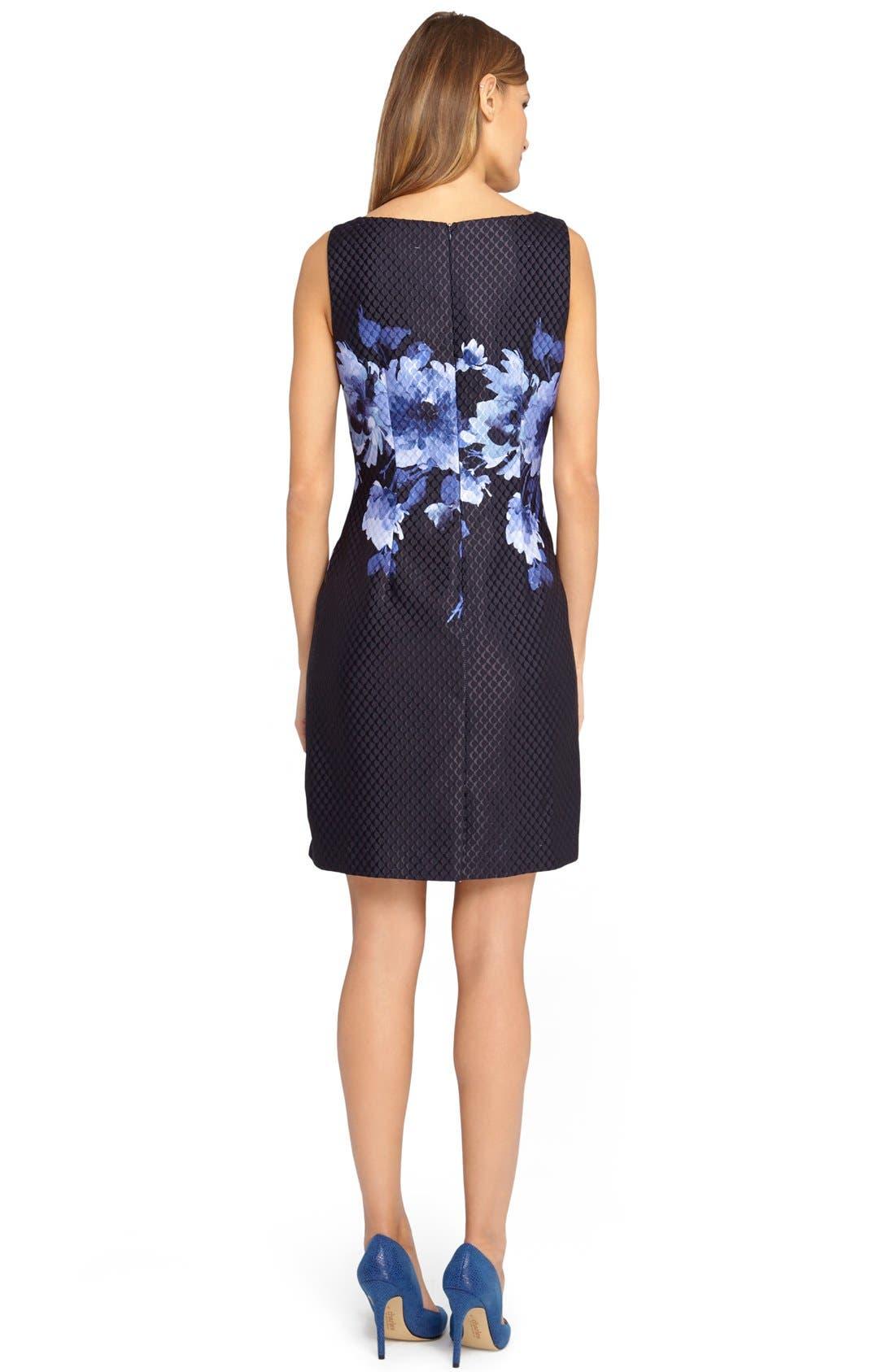 Alternate Image 2  - Tahari Floral Jacquard Sheath Dress (Regular & Petite)