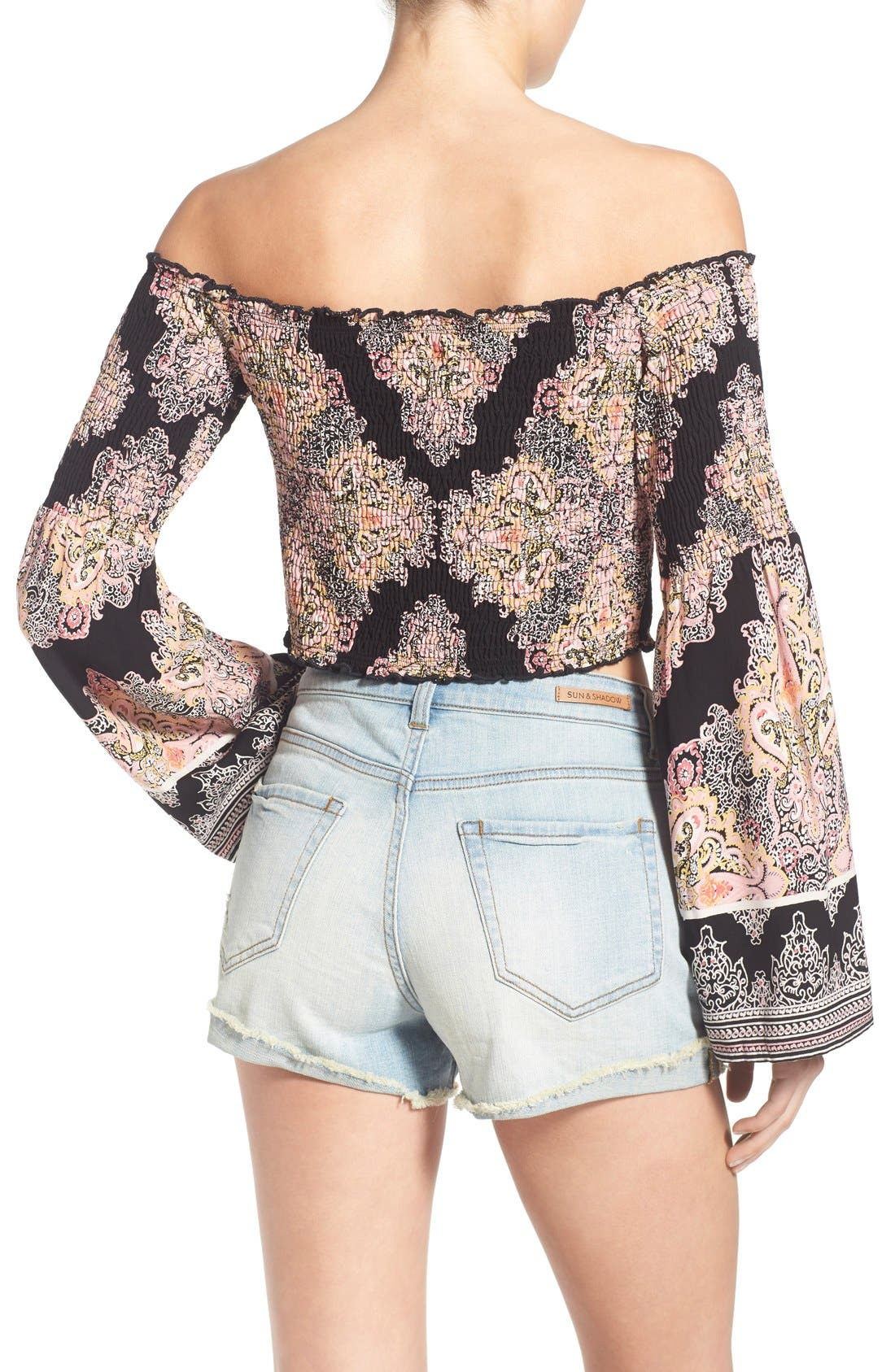 Alternate Image 2  - Band of Gypsies Paisley Print Off the Shoulder Top