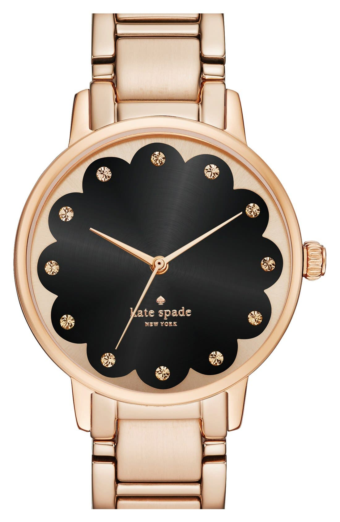 Alternate Image 1 Selected - kate spade new york 'gramercy' scalloped dial bracelet watch, 34mm