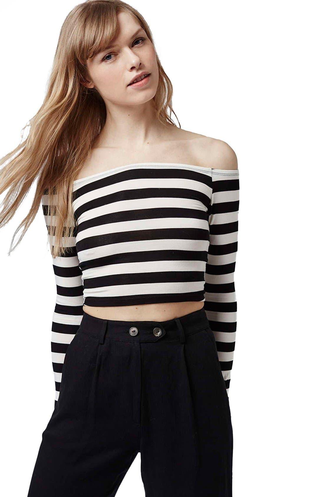 Alternate Image 5  - Topshop Stripe Off the Shoulder Top