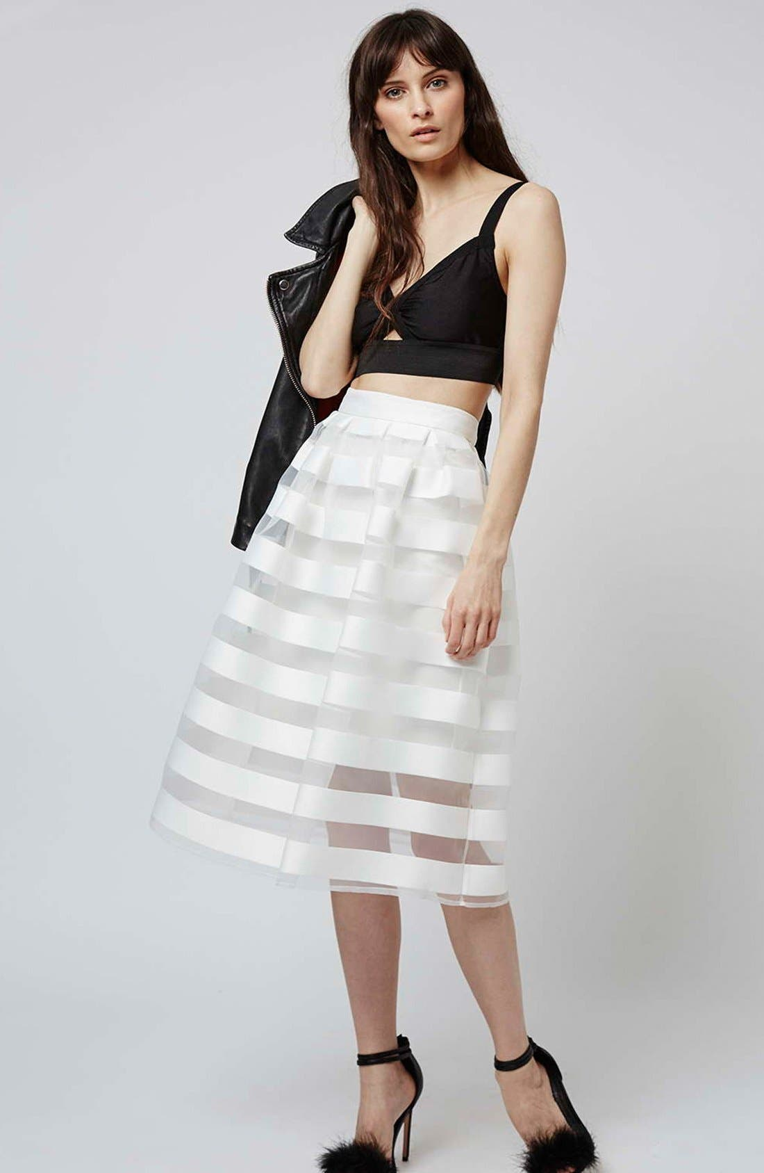 Alternate Image 2  - Topshop 'Glass' Sheer Stripe Pleat Midi Skirt