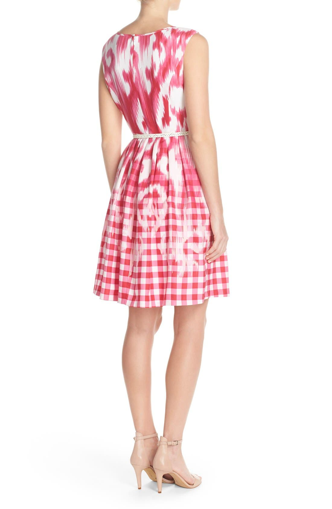 Alternate Image 2  - Ellen Tracy Belted Mixed Print Faille Fit & Flare Dress (Regular & Petite)