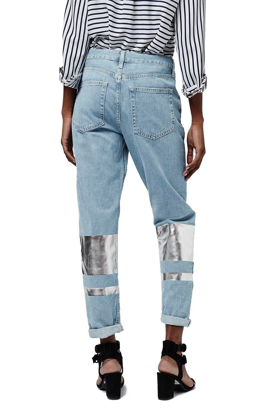 Alternate Image 3  - Topshop Silver Stripe Hologram Crop Boyfriend Jeans (Light)