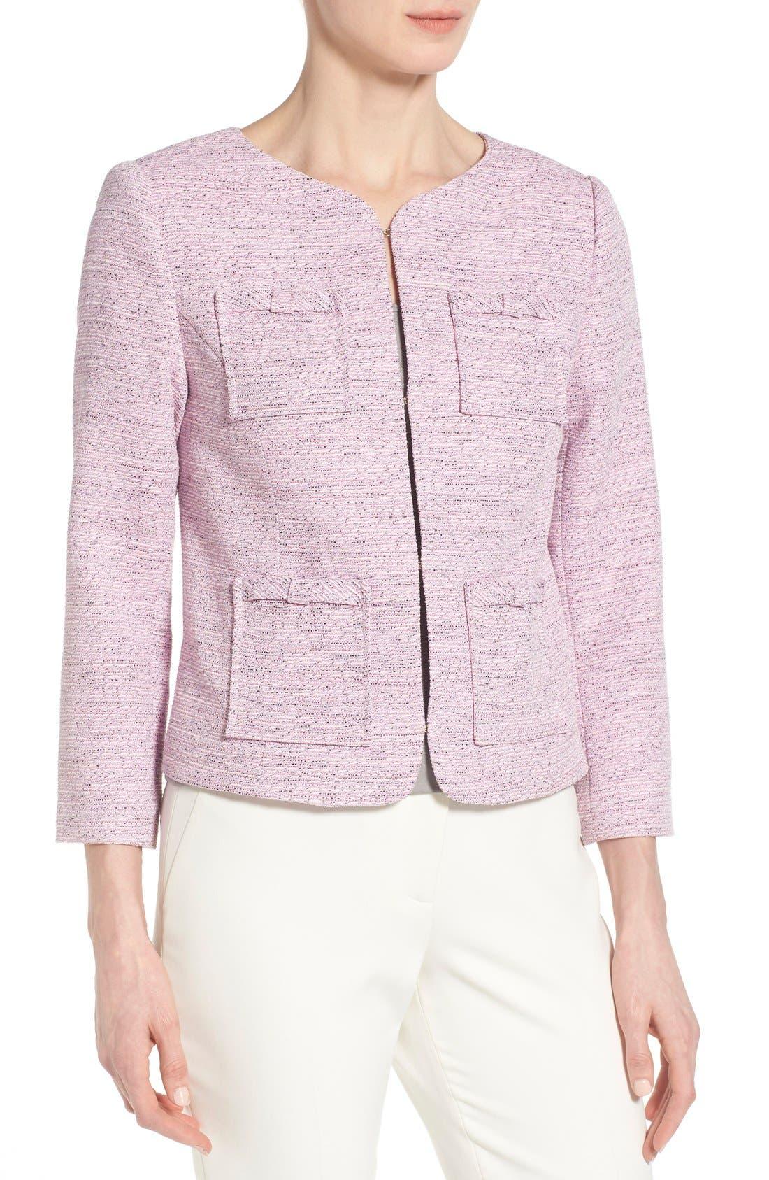 Alternate Image 3  - CeCe by Cynthia Steffe Four-Pocket Collarless Tweed Jacket