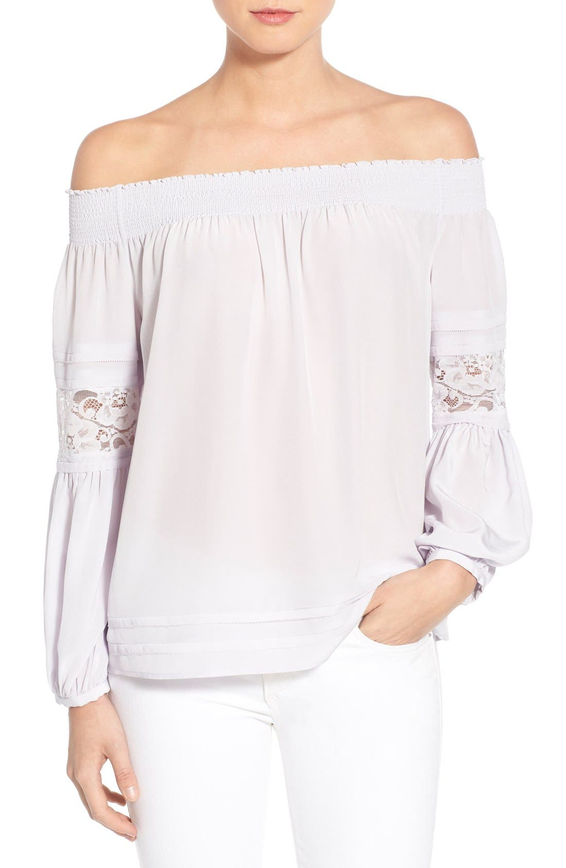 Main Image - Olivia Palermo + Chelsea28 Silk Off the Shoulder Peasant Top