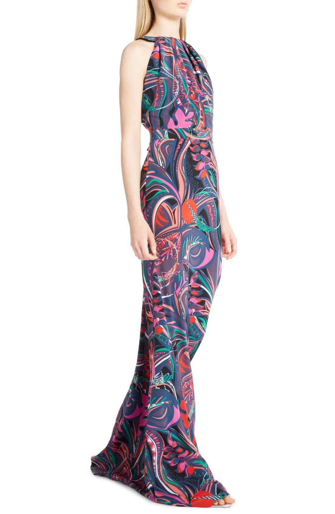 Alternate Image 5  - Emilio Pucci Print Silk Halter Gown