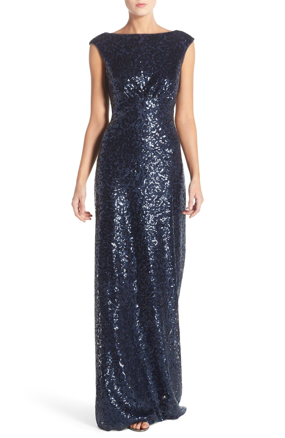 Main Image - Donna Morgan 'Evie' Sequin Bateau Neck A-Line Gown