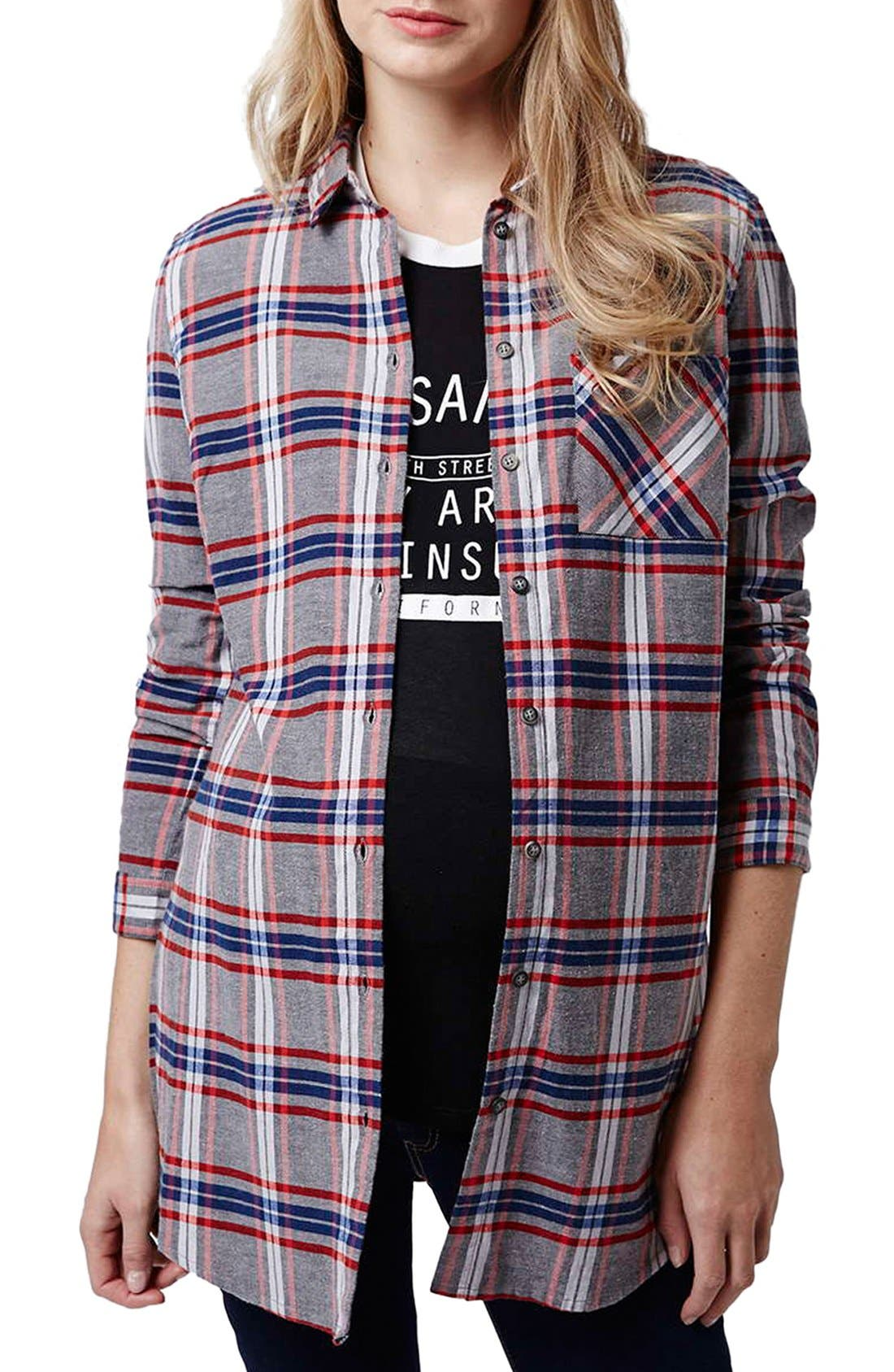 Alternate Image 1 Selected - Topshop 'Boxing Day' Check Plaid Maternity Shirt