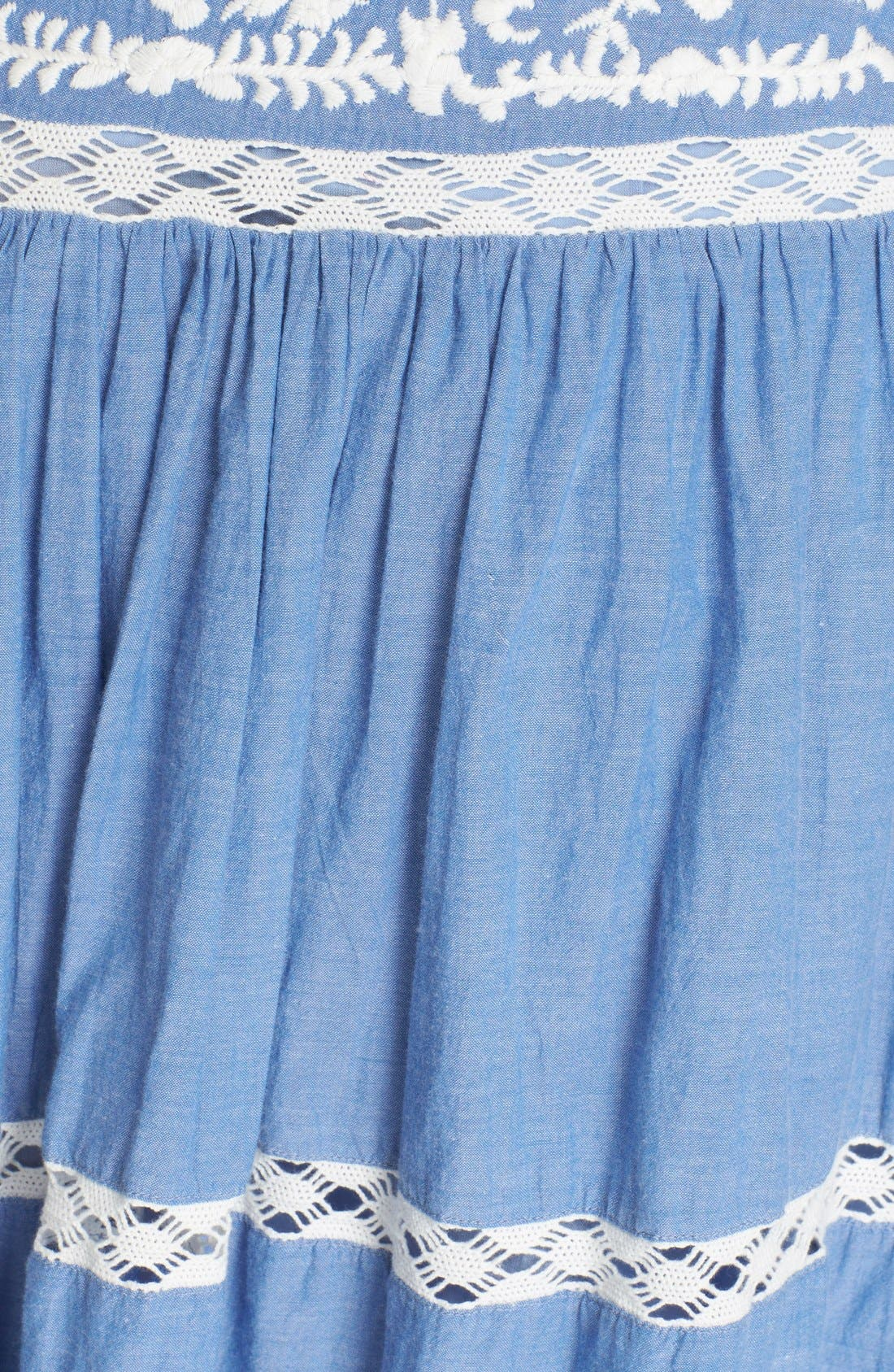 Alternate Image 5  - Joie Embroidered Chambray Skirt