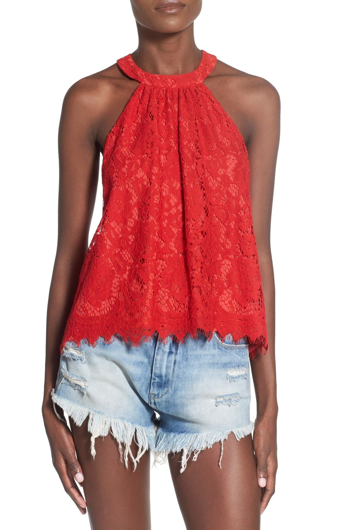 Alternate Image 1 Selected - Wayf High Neck Lace Tank