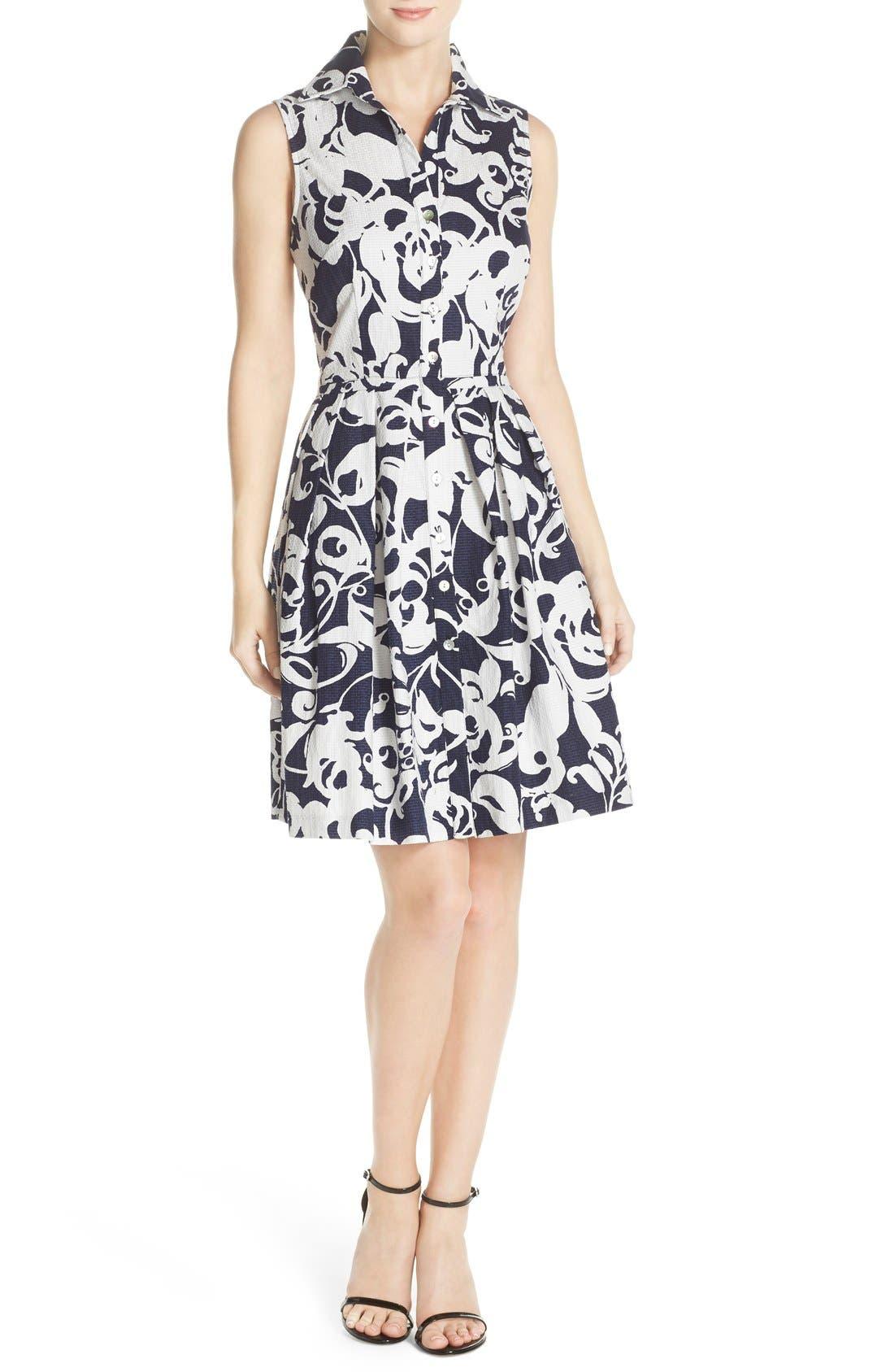 Alternate Image 4  - Taylor Dresses Print Jacquard Fit & Flare Shirtdress