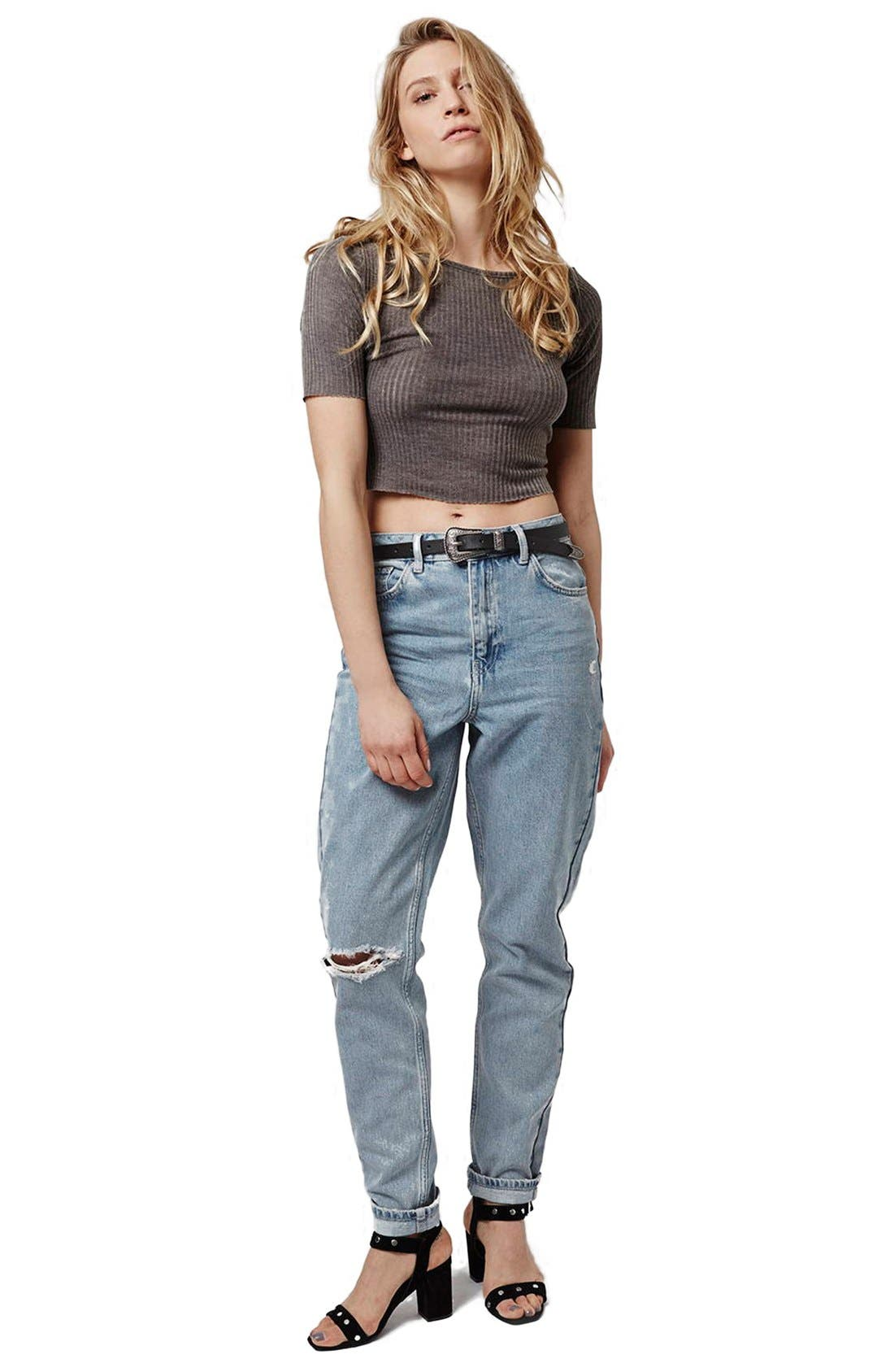 Alternate Image 2  - Topshop Ripped High Rise Mom Jeans (Tall)