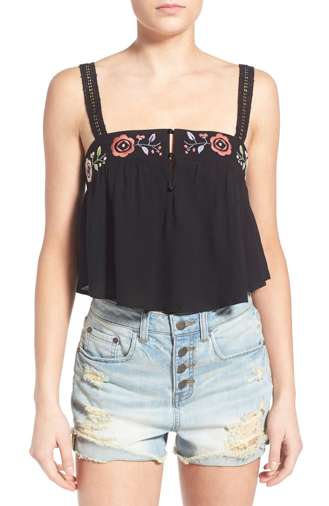 Main Image - Somedays Lovin 'Wide Eyes' Embroidered Crop Top