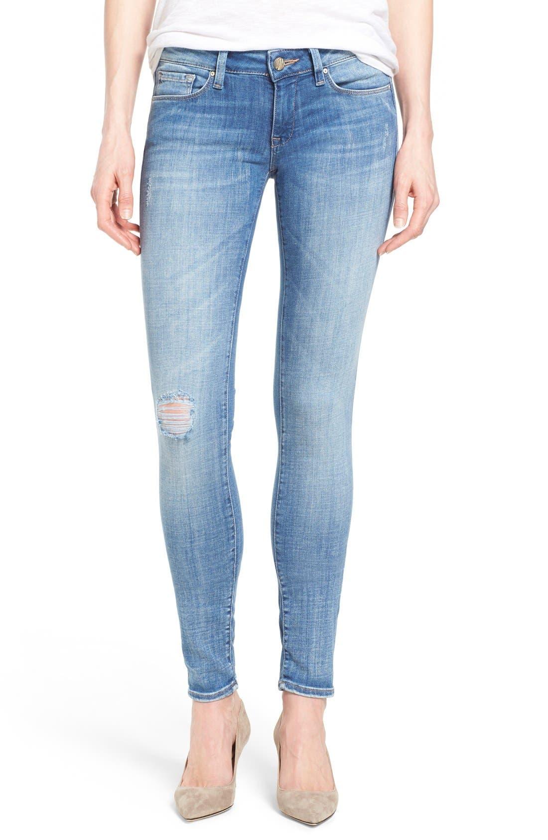 Mavi Jeans Serena Distressed Stretch Skinny Jeans (Light Cloud)