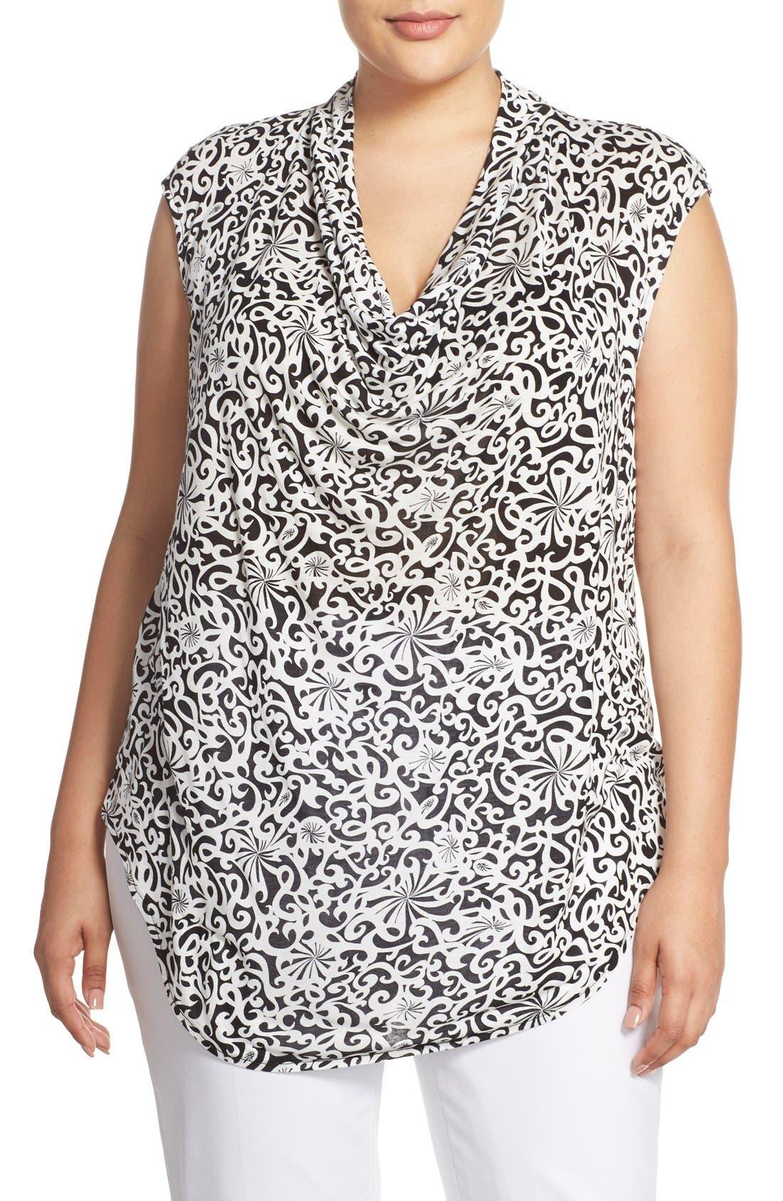 Main Image - Halogen® Drape Neck Sleeveless Top (Plus Size)