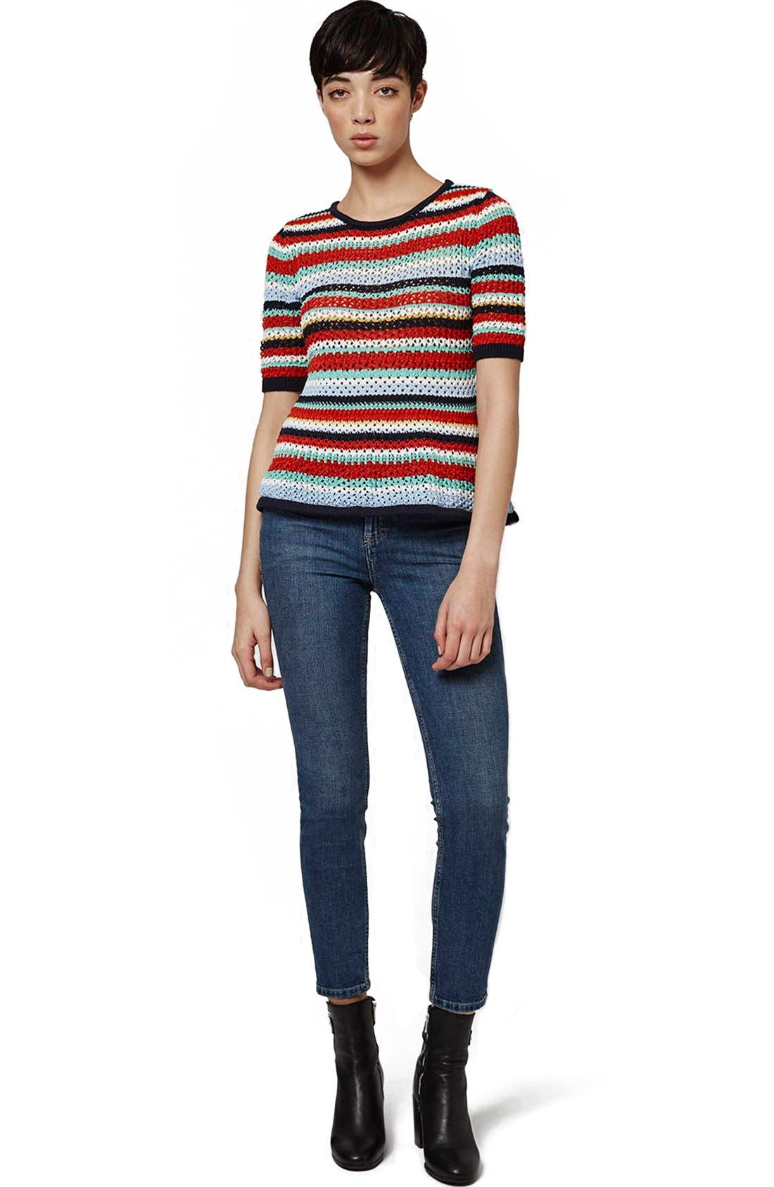 Alternate Image 2  - Topshop Multicolor Stripe Crochet Top