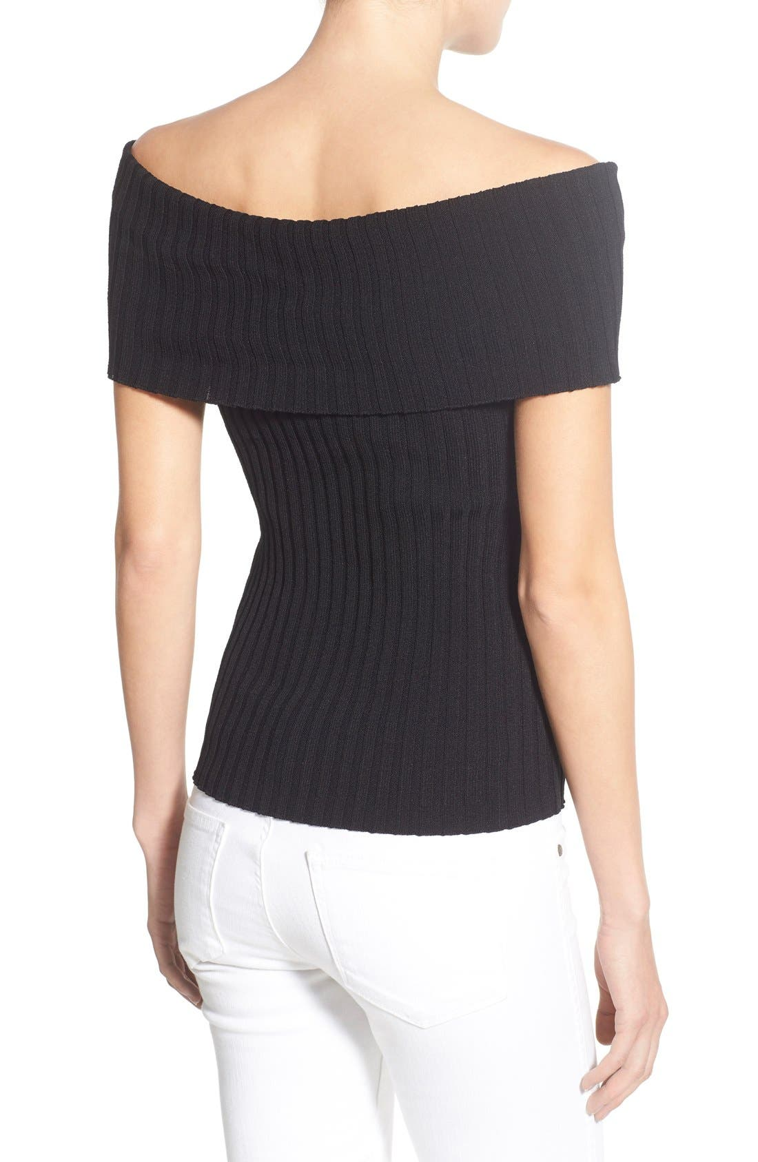 Alternate Image 2  - Olivia Palermo + Chelsea28 Rib Knit Off the Shoulder Sweater