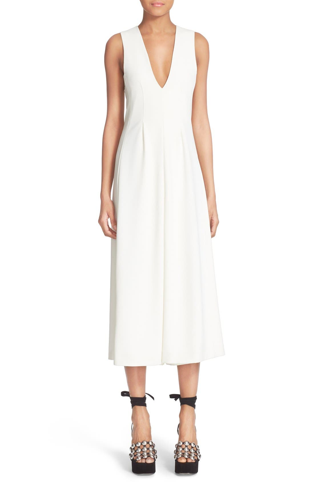 Alternate Image 1 Selected - T by Alexander Wang V-Neck Stretch Twill Gaucho Romper