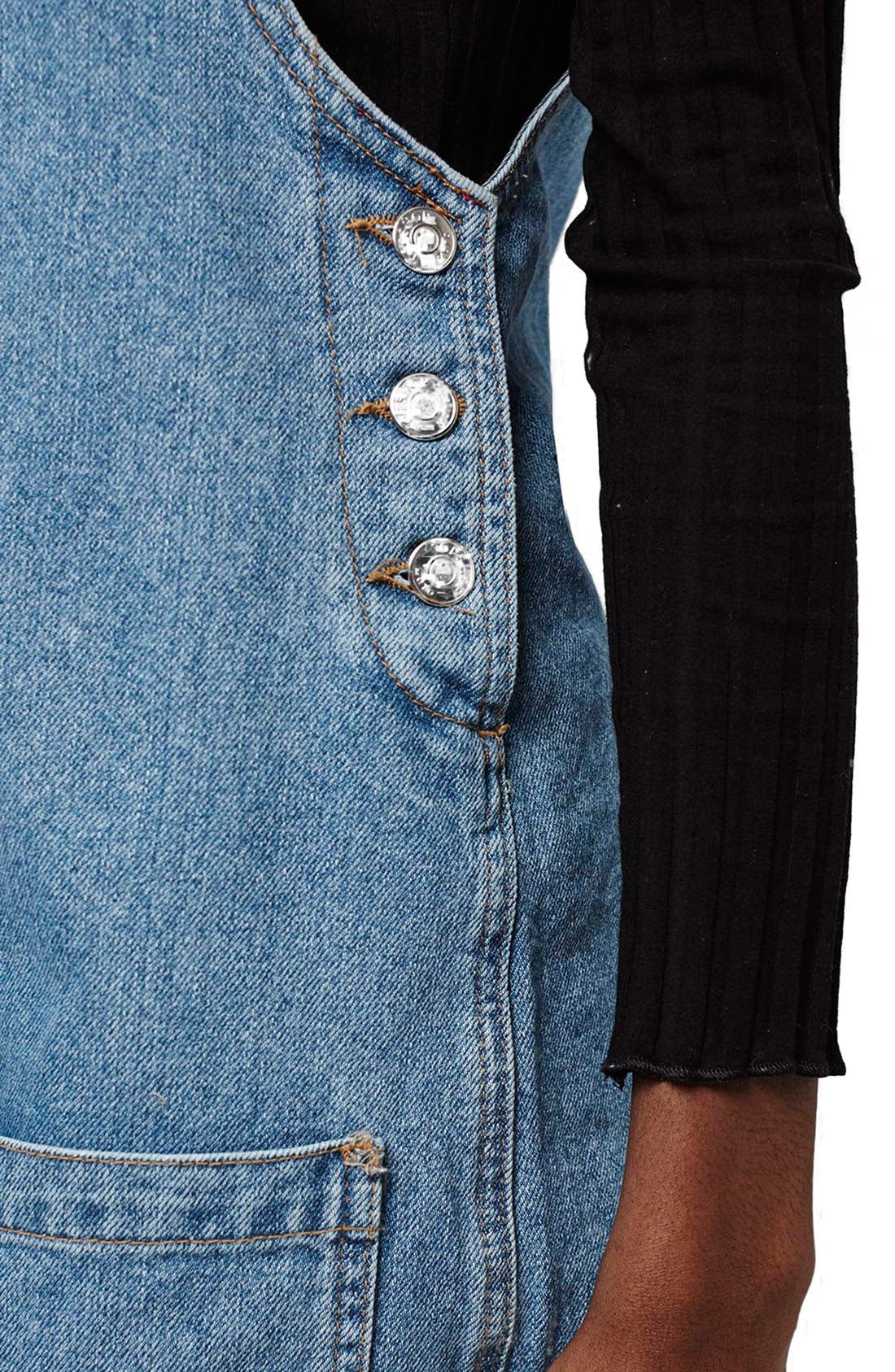 Alternate Image 5  - Topshop Patch Pocket Denim Pinafore Dress