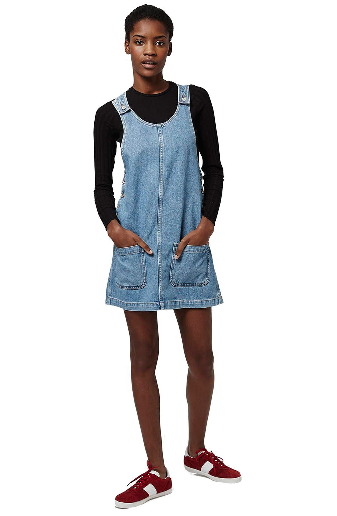 Alternate Image 2  - Topshop Patch Pocket Denim Pinafore Dress