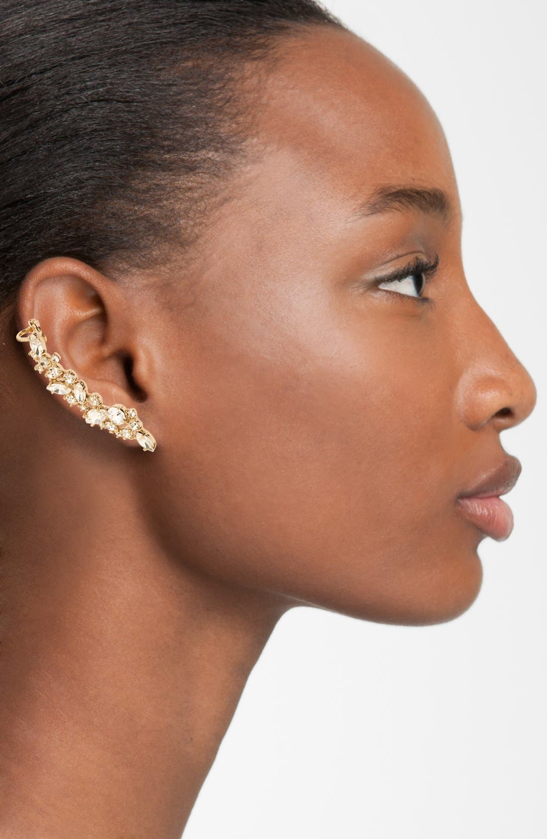 Alternate Image 2  - Marchesa 'Drama' Crystal Ear Crawler & Stud Earring