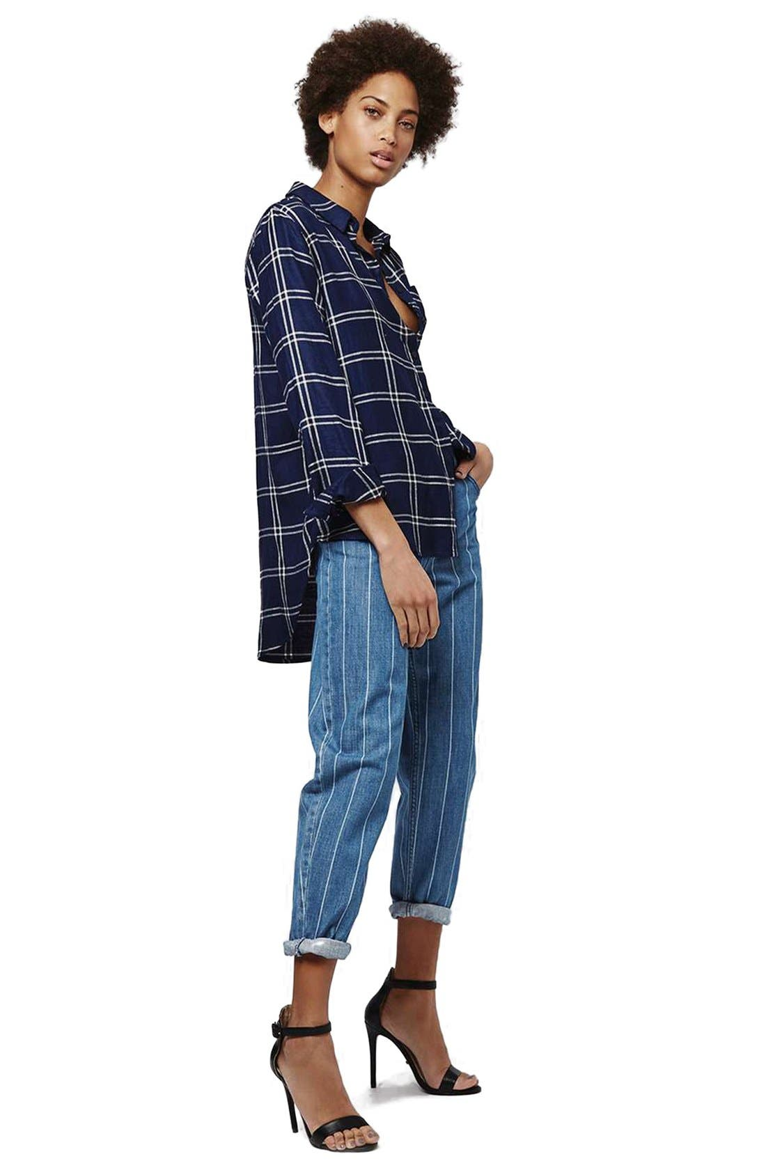 Alternate Image 2  - Topshop Stripe High Rise Boyfriend Jeans