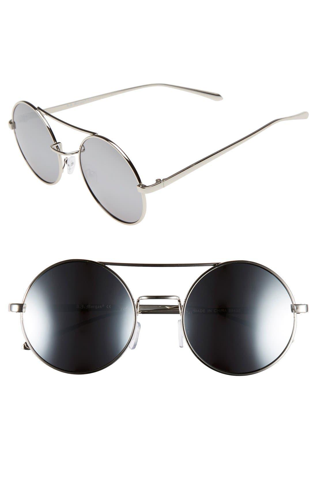 Main Image - A.J. Morgan 'Eclipse' 54mm Round Mirror Lens Sunglasses