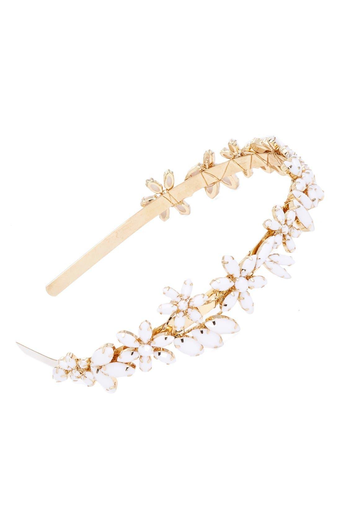 Main Image - Cara Rhinestone Flower Headband
