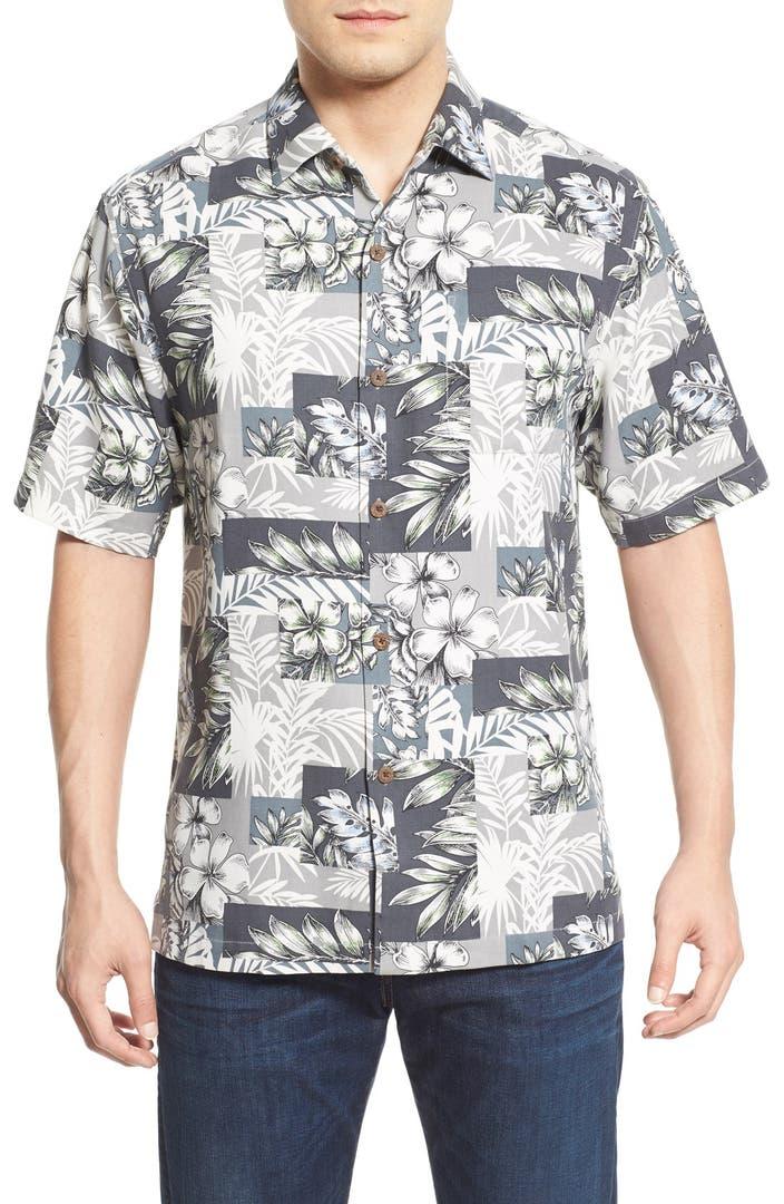 Tommy Bahama 39 Plumeria Patchwork 39 Silk Camp Shirt Big