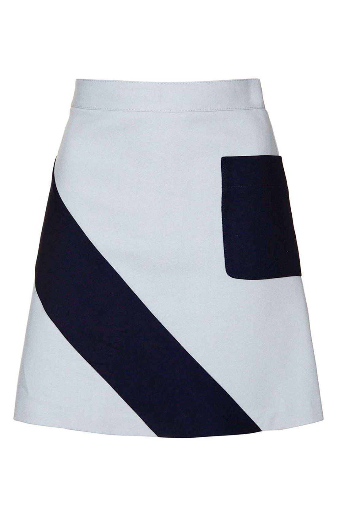 Alternate Image 4  - Topshop 'Mega' Panel Crepe A-Line Miniskirt