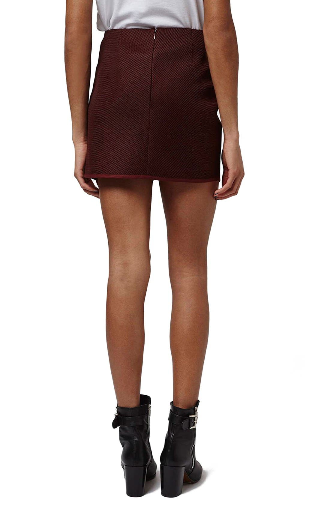 Alternate Image 3  - Topshop Angled Wrap Airtex Miniskirt