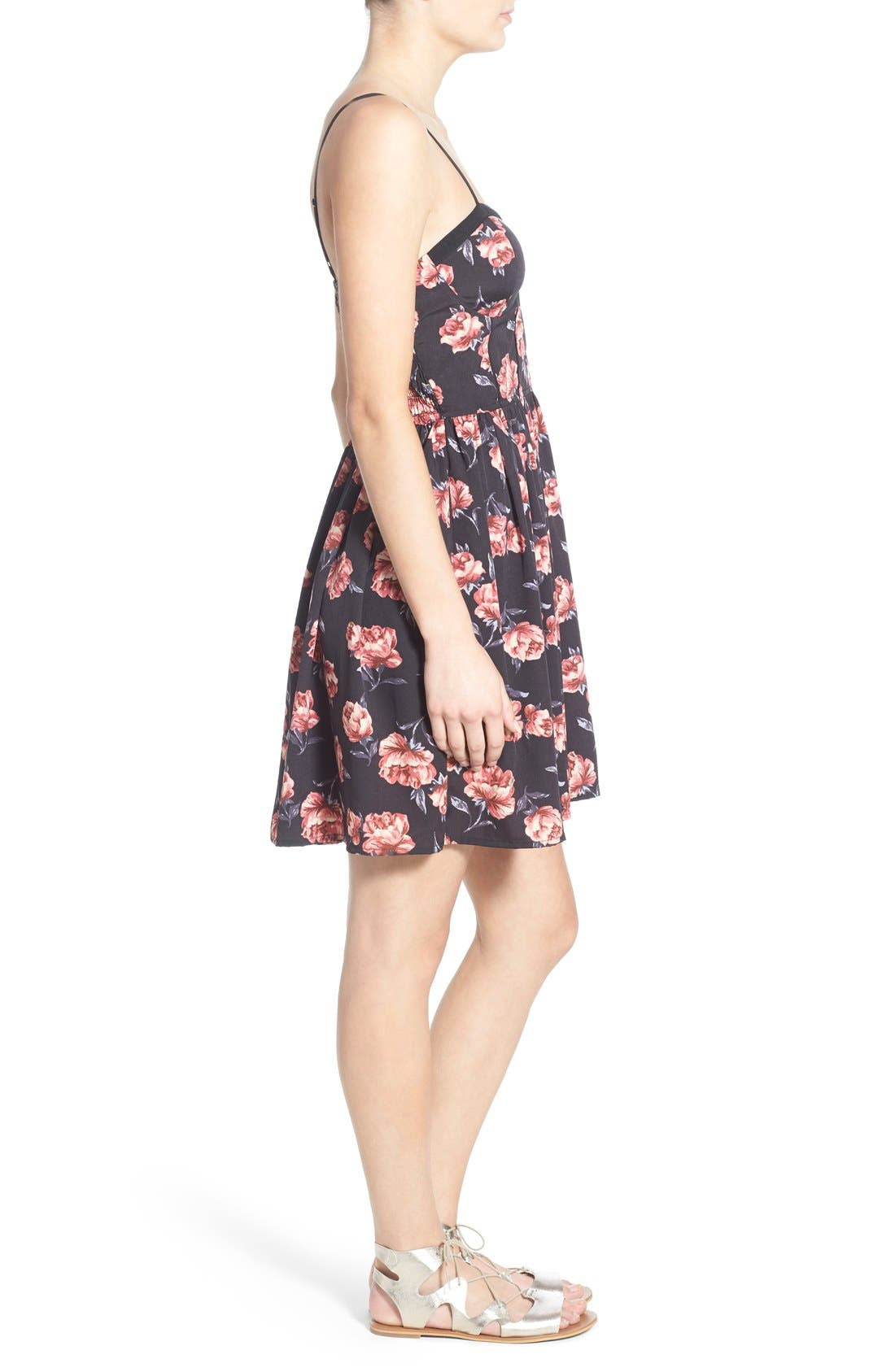 Alternate Image 3  - Band of Gypsies Floral Print Skater Dress