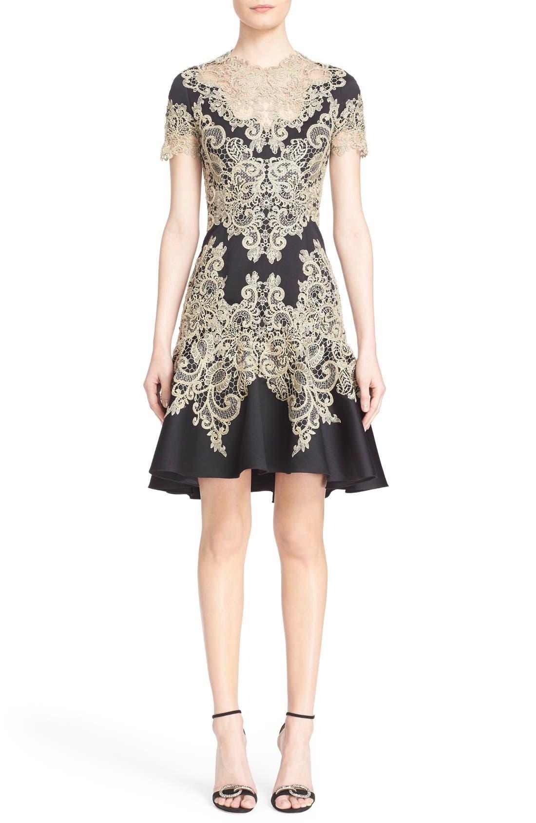 Alternate Image 1  - Marchesa Lace Appliqué Crepe Fit & Flare Dress