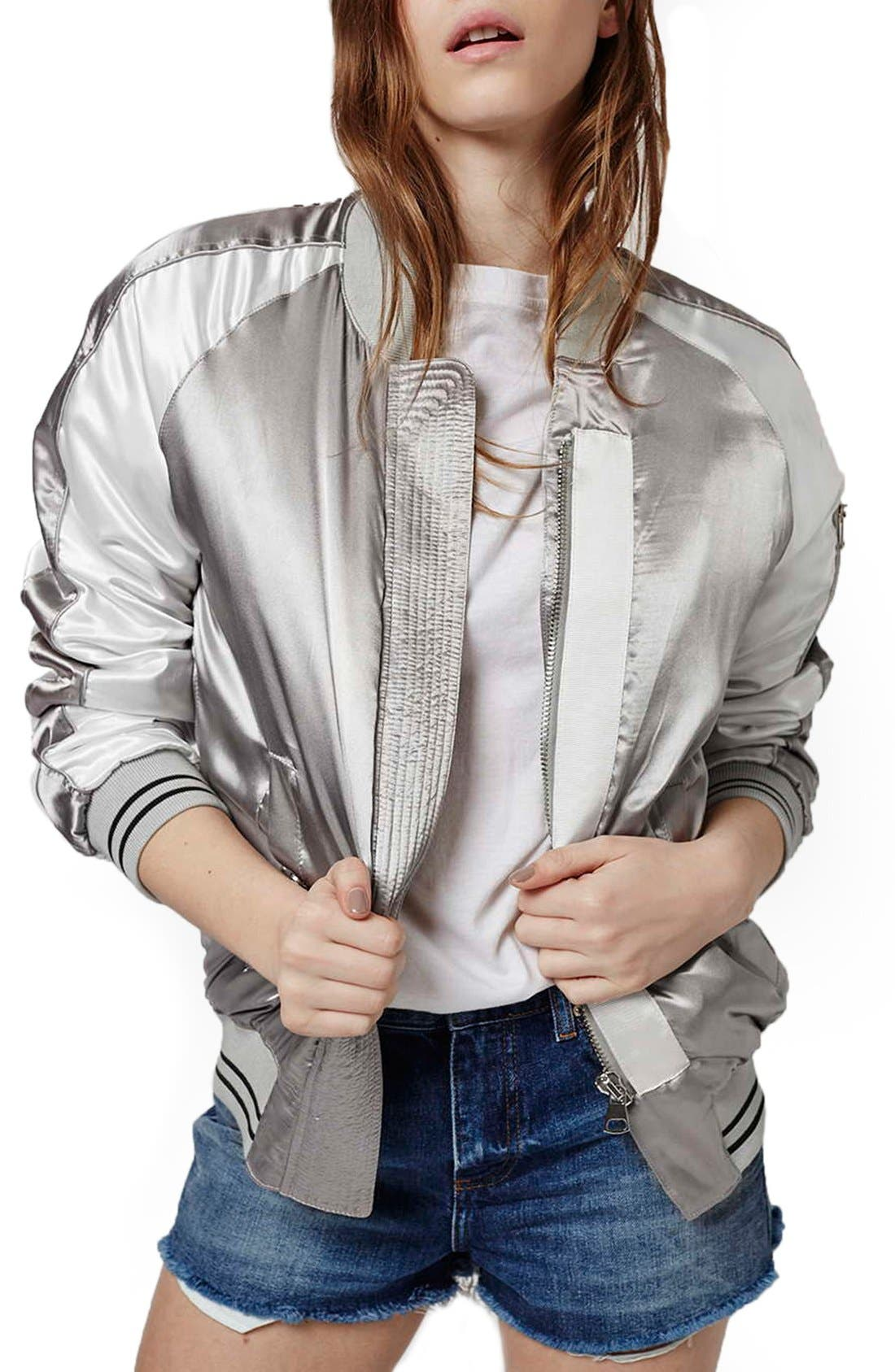 Alternate Image 1 Selected - Topshop Sateen MA-1 Bomber Jacket