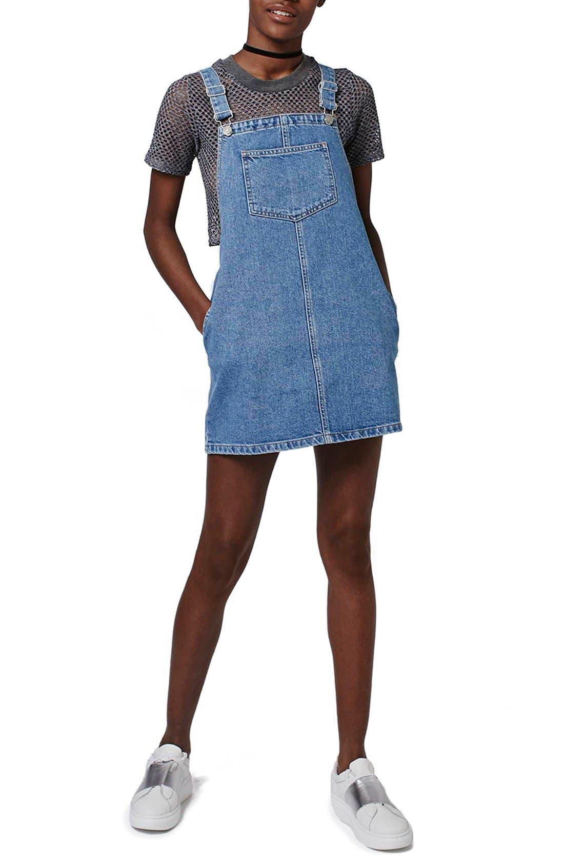 Main Image - Topshop Denim Pinafore Dress (Petite)