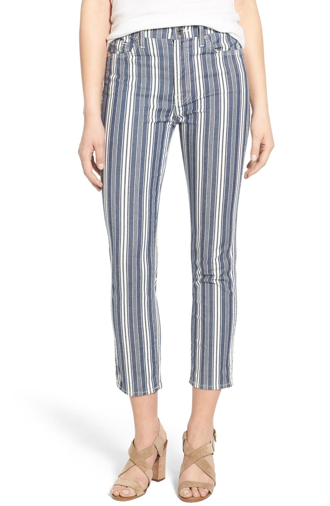 Main Image - 7 For All Mankind® Ankle Straight Leg Jeans (Indigo Stripe)