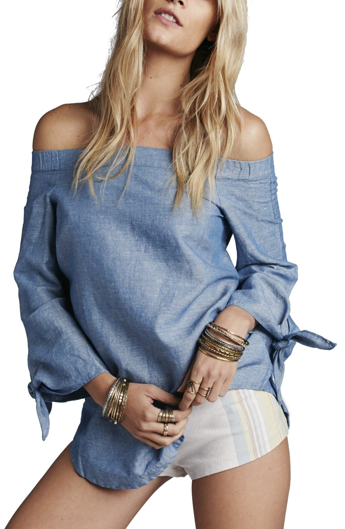 Main Image - Free People 'Show Me Some Shoulder' Off the Shoulder Cotton Blouse