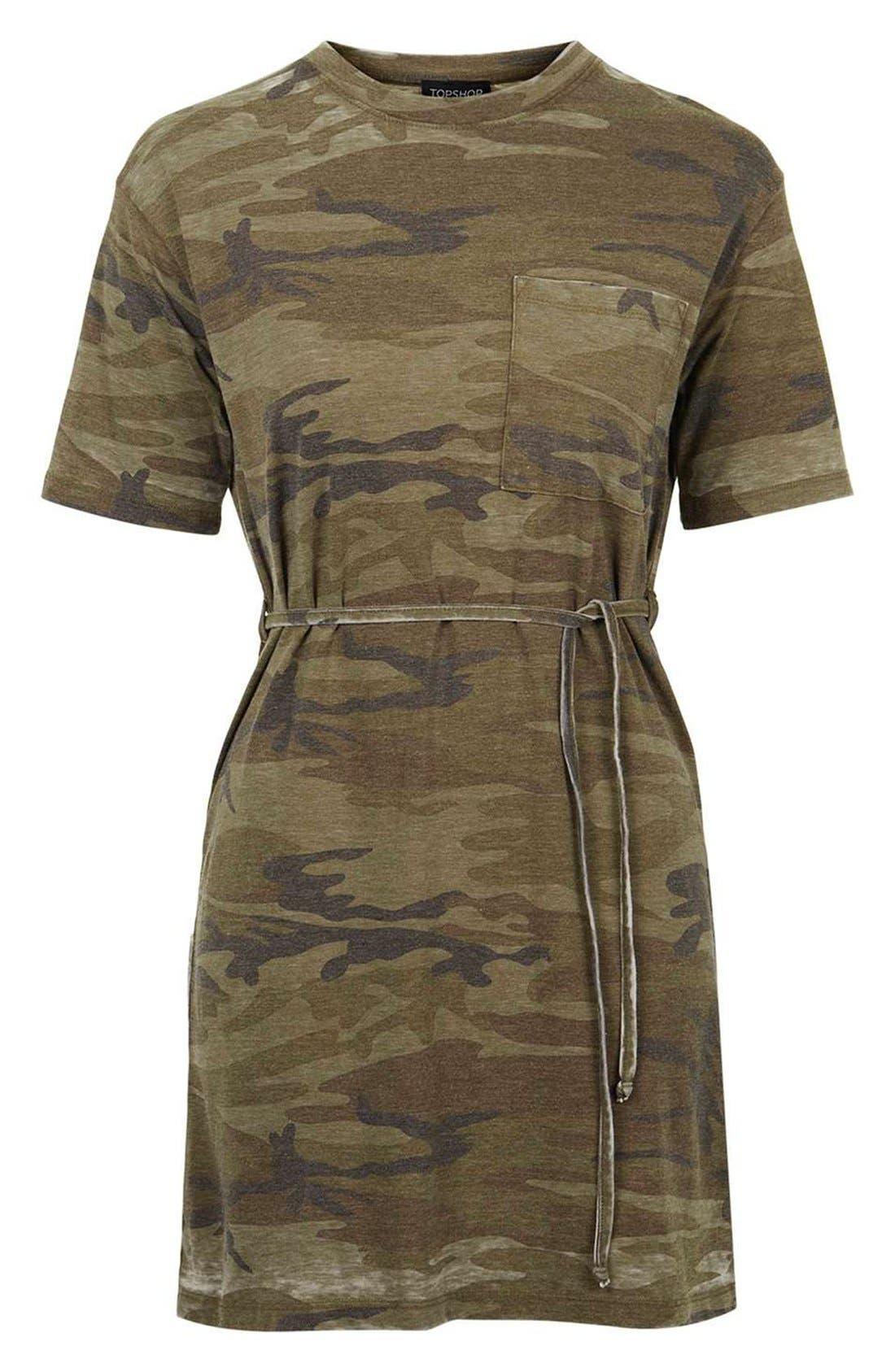 Alternate Image 4  - Topshop Belted Camo Print T-Shirt Dress
