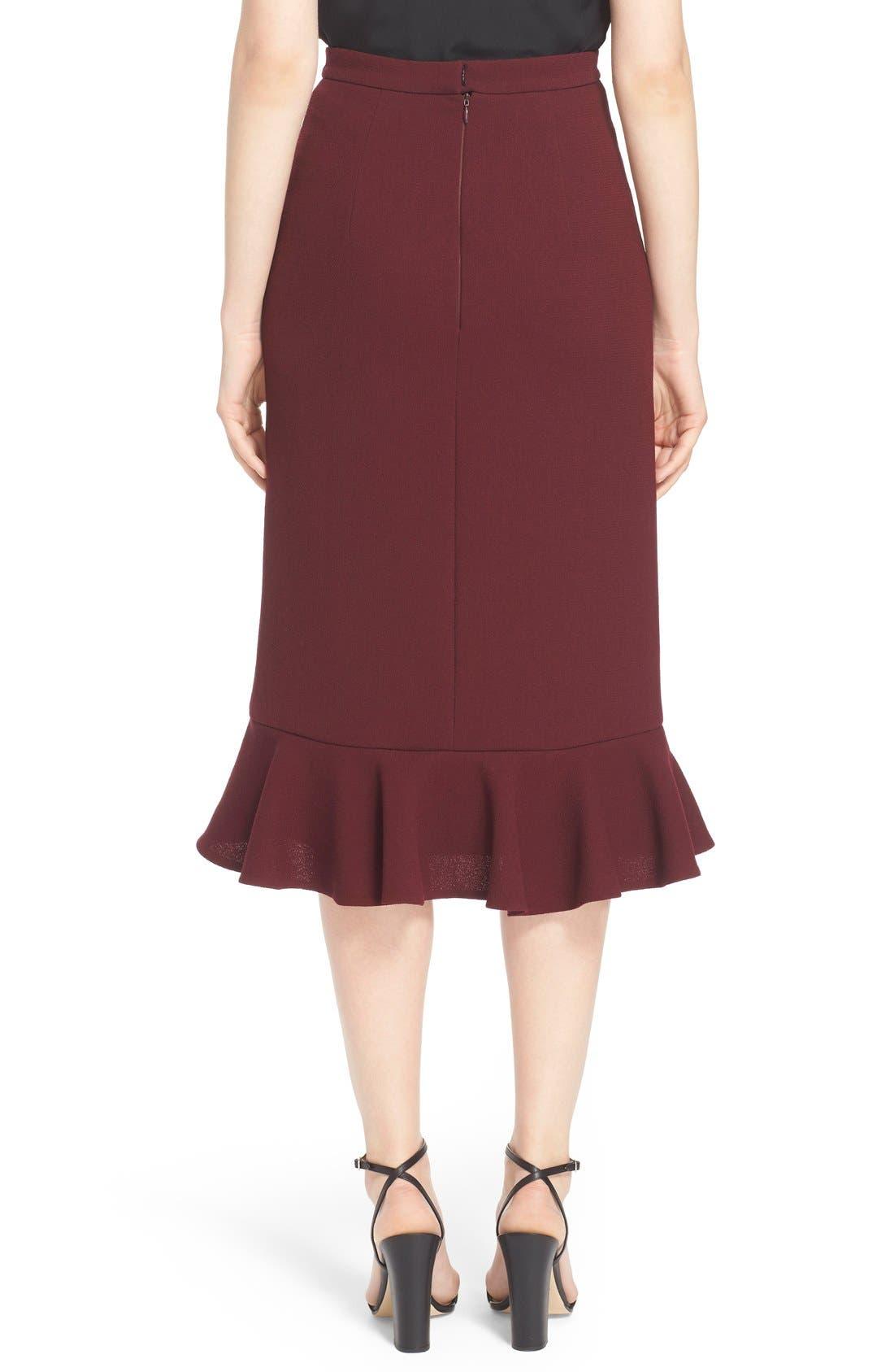 Alternate Image 2  - Erdem 'Joss' Wool Crepe Asymmetric Ruffle Hem Skirt
