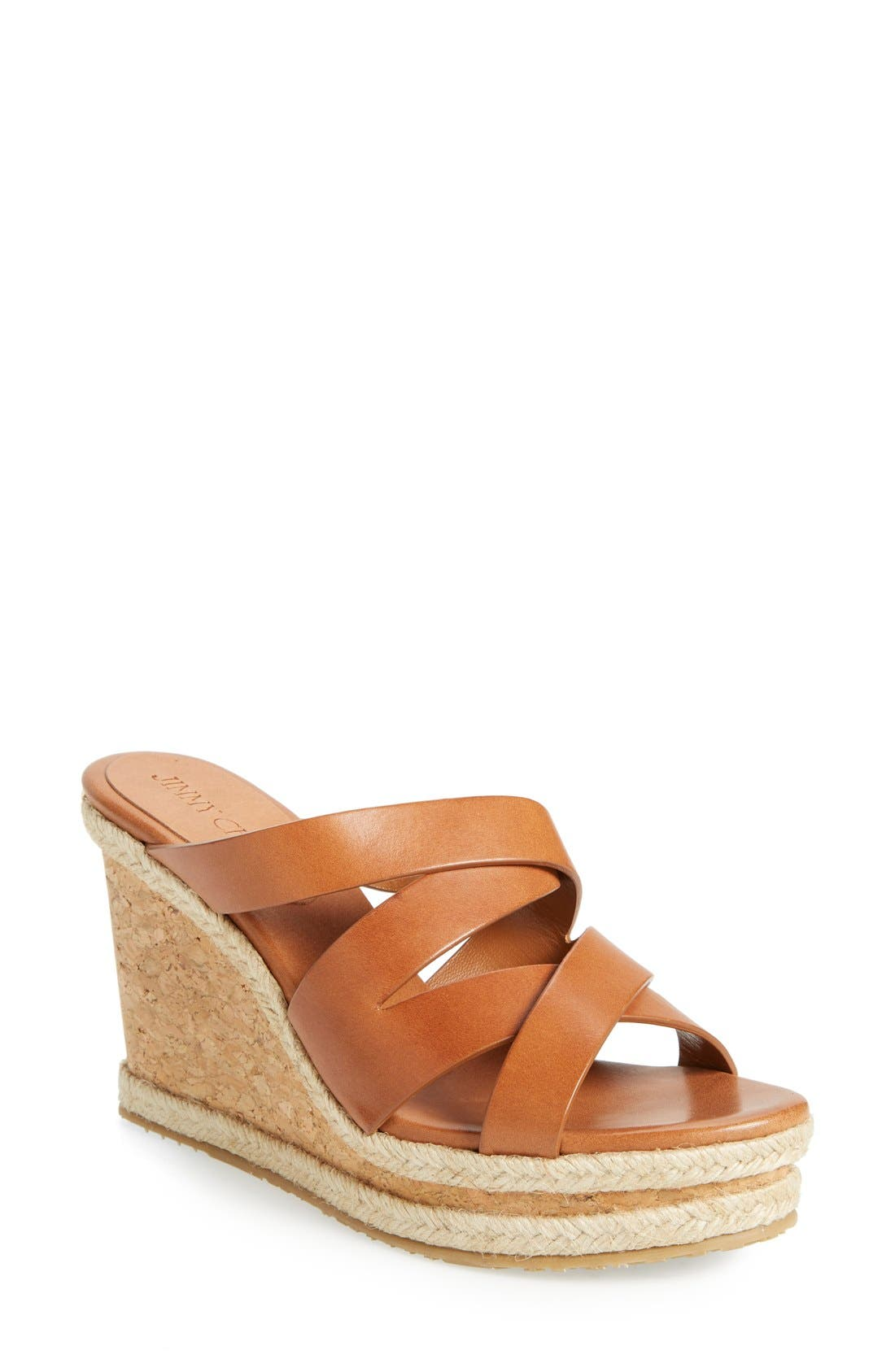 JIMMY CHOO 'Prisma' Leather Wedge Sandal