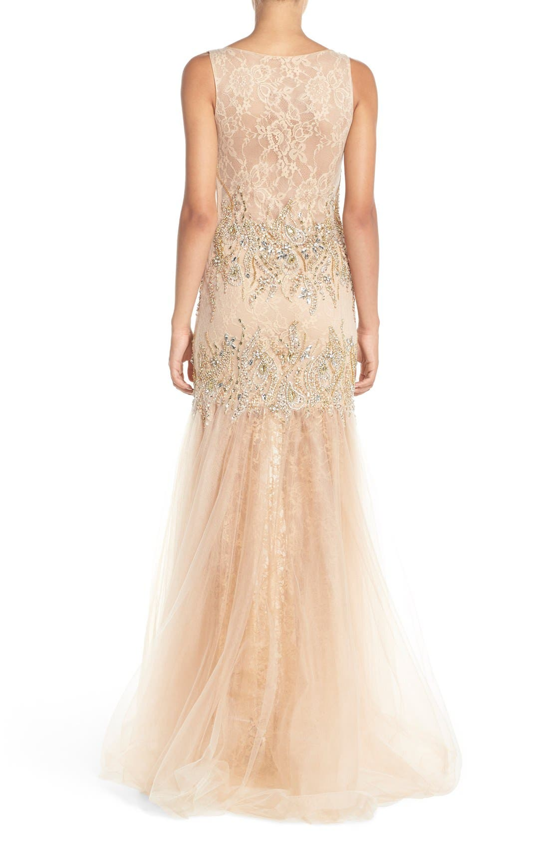 Alternate Image 2  - Terani Couture Embellished Lace Mermaid Gown