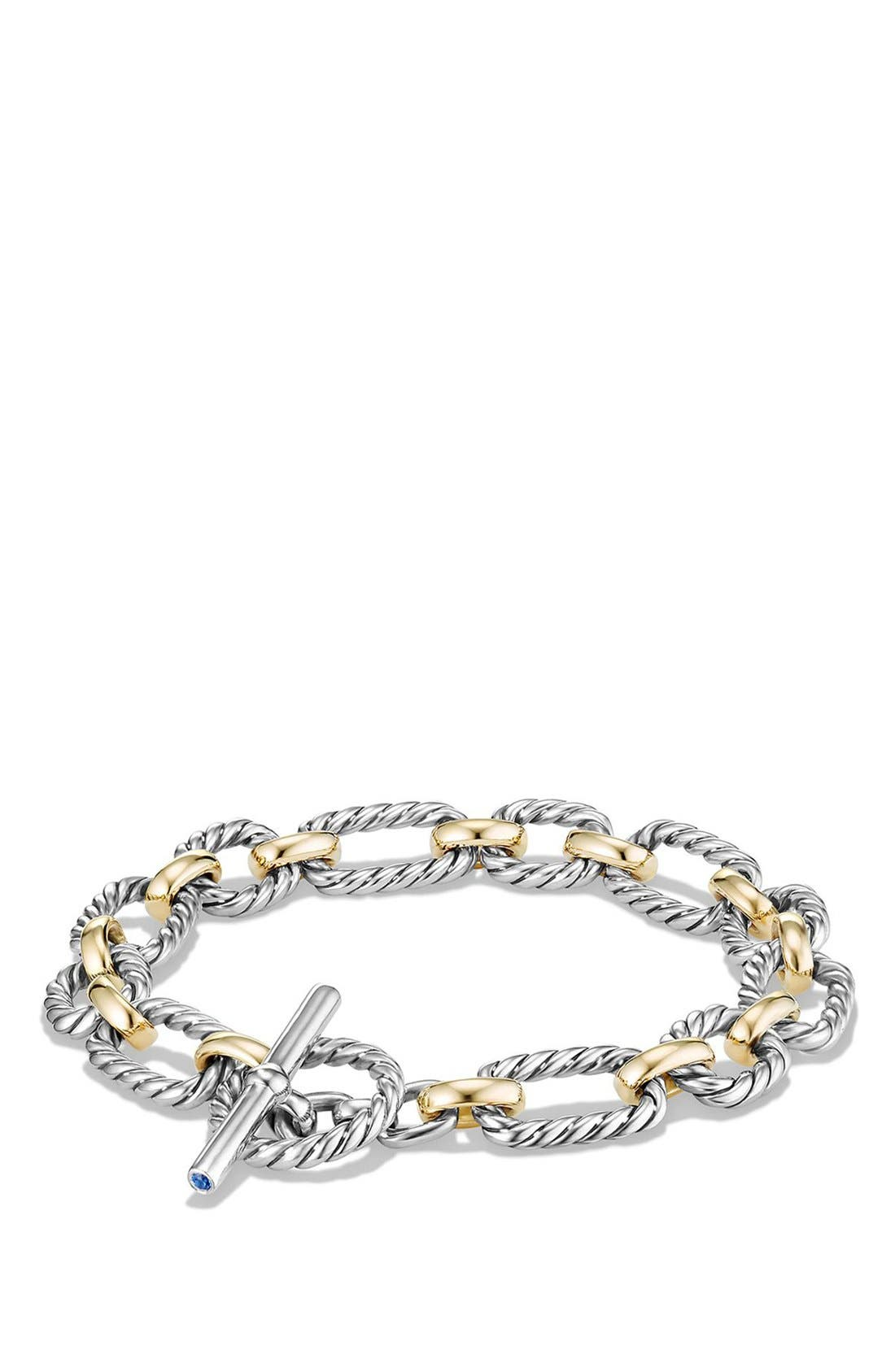 DAVID YURMAN 'Chain' Cushion Link Bracelet with Sapphires