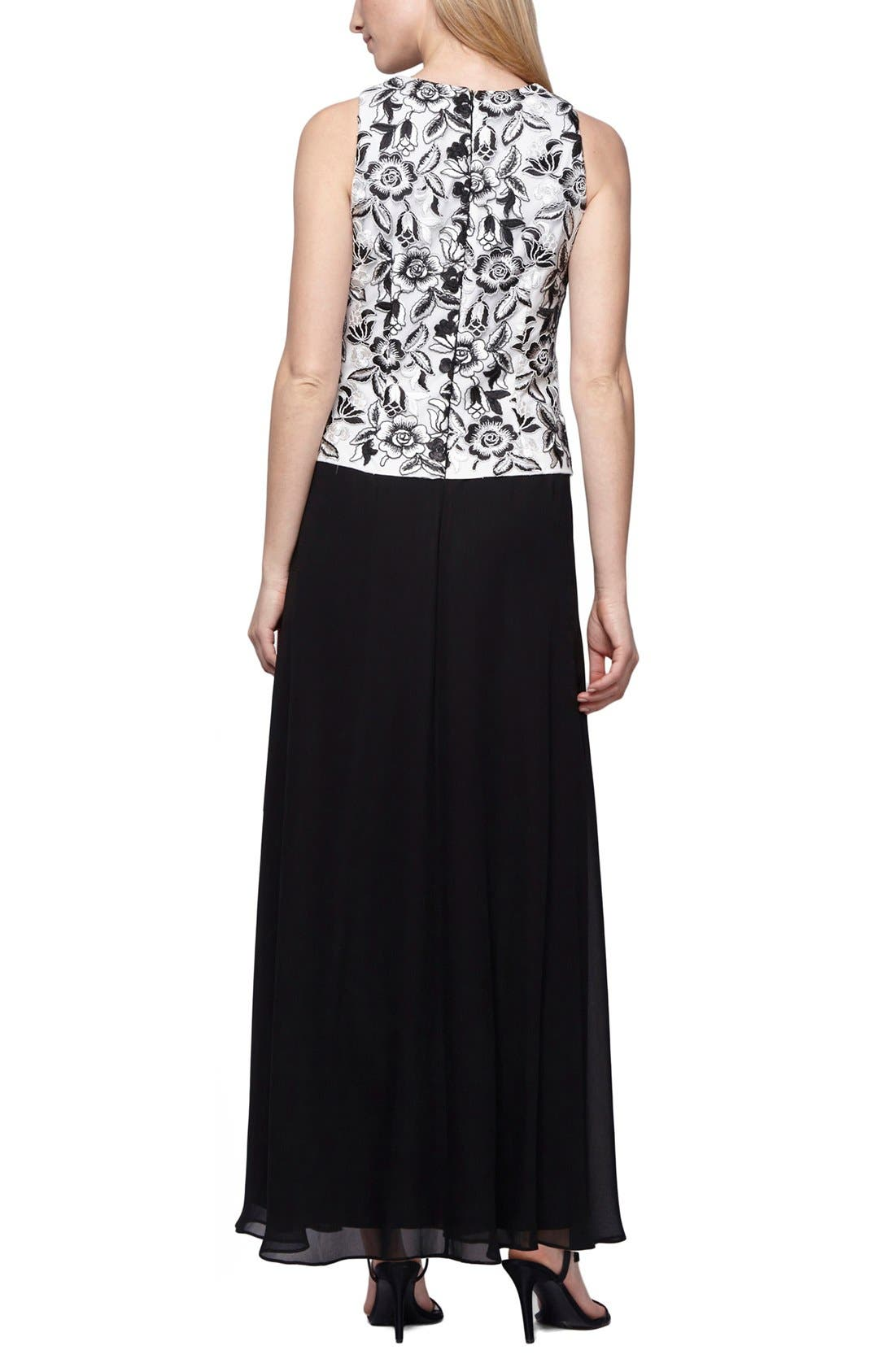 Alternate Image 2  - Alex Evenings Embroidered Chiffon Gown & Shawl (Regular & Petite)
