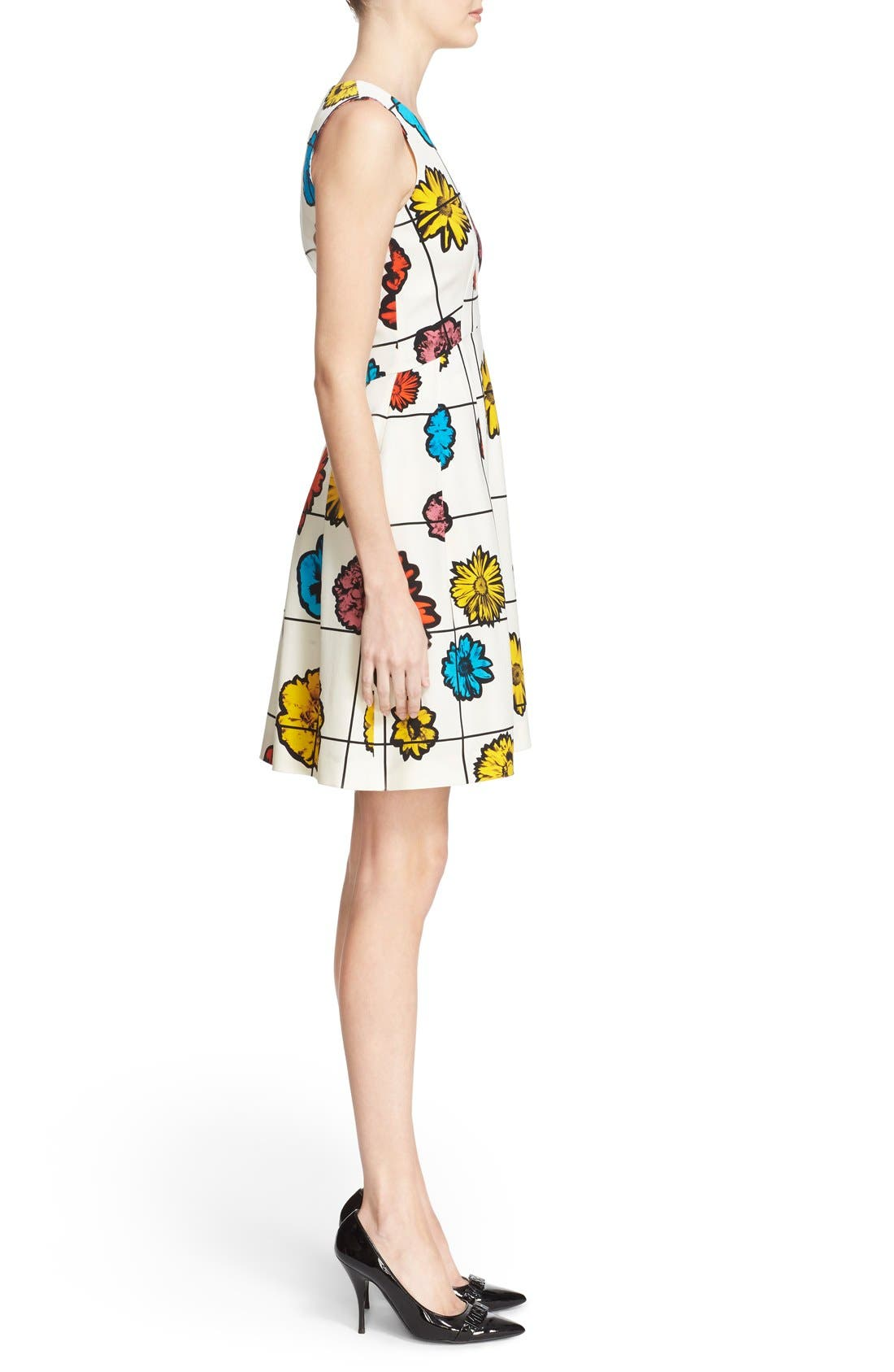 Alternate Image 5  - Moschino Floral & Grid Print Wool Blend Dress