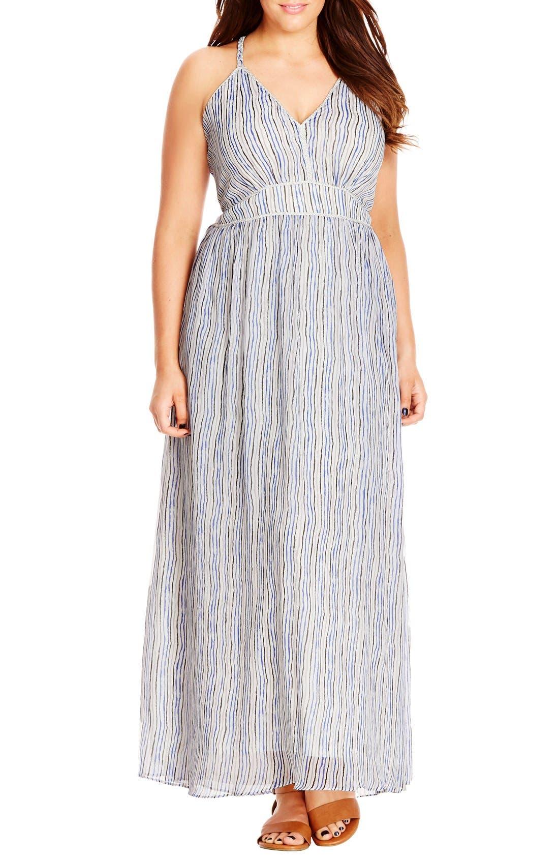 Alternate Image 1 Selected - City Chic Metallic Plait Trim Stripe Maxi Dress (Plus Size)